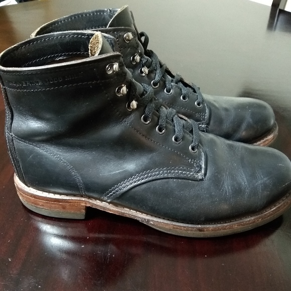 0a8fee9ebbf Wolverine 1000 Mile Black Leather Boots 9.5